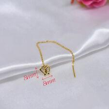 Real Pure 24k Yellow Gold 999 Earrings Butterfly Earrings Drop Line 1.5-2g 80mmL