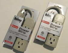 2Pcs Uninex Power Strip Grounded Power-Extension Cord-3Outlet-1ft-13A/125V/1625W