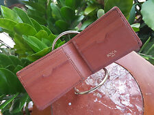 MSRP $120 Bosca Leather Small Bifold Wallet Chestnut Deluxe Compact Modern