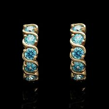 1.00CT Created Blue Topaz Eternity Huggie Earrings 14K Solid Yellow Gold