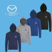 Mazda Zip Hoodie EMBROIDERED Auto Car Logo Sweatshirt Jacket Mens Hoody Clothing