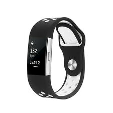 Black White SPORT Small Wristband Band Strap Bracelet For FITBIT CHARGE 2 SMALL