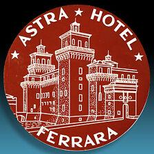ALTER KOFFERAUFKLEBER | LUGGAGE LABEL 50er ASTRA HOTEL FERRARA | ITALIA