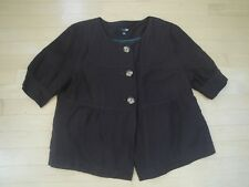 East 5th Women's Brown Lined Linen Button Front Top Short Sleeve Size: Med