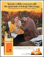 1970 Raleigh cigarettes patio furniture man woman sunset photo print ad  adL28