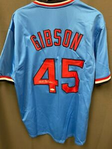 Bob Gibson #45 Signed Cardinals Baseball Jersey Autographed AUTO JSA COA Sz XL