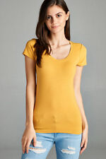 Women Basic Short Sleeve Stretch Scoop Neck Plain Top Solid Color T Shirt T9663