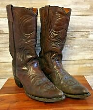 Texas Imperial Texas Boot Co Mens 9.5 D Embroidered Brown Leather Cowboy Boots