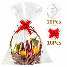 """30""""X40""""Clear Basket Bags Clear Cellophane Wrap For Baskets & Gifts with Pull Bow"""
