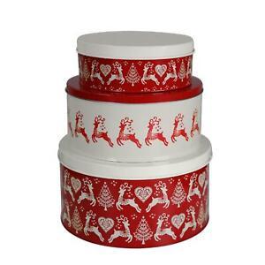 Dexam Yuletide Christmas Cake Tins - Set of 3