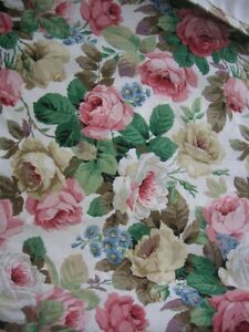 Floral Vintage Pair of Lined CHINTZ CURTAINS Each 56in Wide x 39ins Long