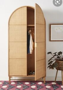 Anthropologie 2-Door Wallace Cane and Oak Wardrobe