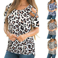 Womens Cold Shoulder Tops Shirt Ladies Summer Casual Short Sleeve Blouse Tee