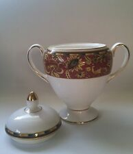 Wedgwood China 'Persia' Sugar Bowl White with Pattern with Lid *MINT*