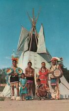 Vintage POSTCARD c1950s Sioux Chief Whitecraft Indians Dancers OGOLLALA, NE