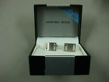 NWT Men's Geoffrey Beene Cuff Links Rectangle Silver Color #325B