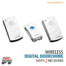 Cordless Wireless Door Chime With 2 Receivers 24 Sounds Set Kit Battery Operated