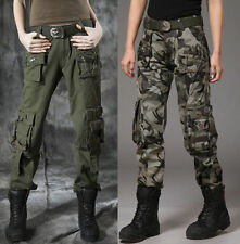 Ladies Womens Military Army Green Jeans Cargo Combat Pants Leisure Trousers Girl