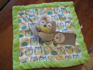 New NWT Carter Lime Green Gray Teal Yellow Owl  Security Blanket Blankie Lovey