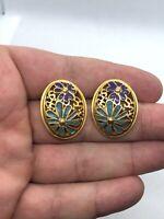 Vintage Floral Painted Enamel Gold Tone Filigree Pierced Earrings