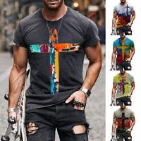 Men Summer T-Shirt Short Sleeve Vintage Tee O Neck Tops Streetwear S/XL/3XL/5XL