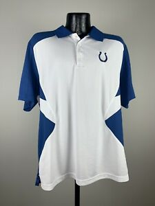 Men's Reebok Play Dry Indianapolis Colts White Polyester NFL Football Polo Large