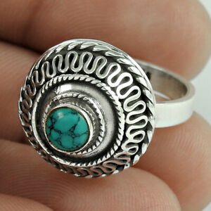Round Shape Turquoise Gemstone Ring Size 7 925 Sterling Silver Jewelry E69