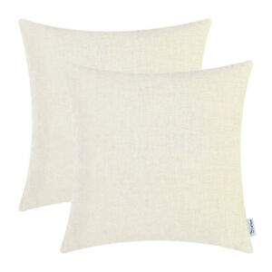 """2Pcs Cream Cushion Covers Pillow Shell Solid Dyed Soft Chenille Sofa Home 18x18"""""""