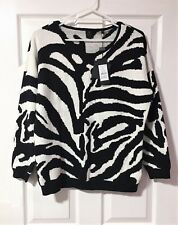 David Lawrence Angora Blend Zebra Knit Jumper - Size XL (16) - RRP