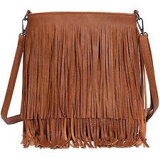 Womens Designer Style Tassle Fringe Shoulder Bag Faux Leather Messenger HandBag`