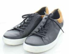 14-14 Men's Sz 11 M Ecco Leather Casual Lace Up Sneaker In Dark Gray