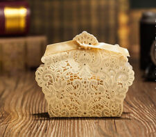 20xGold Laser Cut Candy Box Wedding Party Favors Gift Bag Chocolate Box W/Ribbon