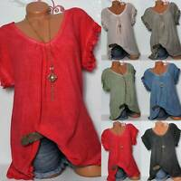 Plus Size Women Short Sleeve Casual Lace Crochet Shirt Baggy Tops Loose Blouse