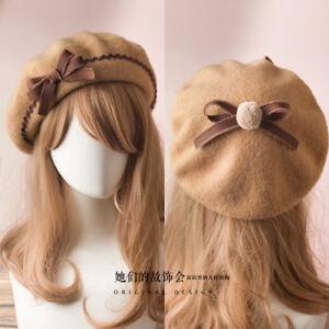 Lolita Hat French Beret Wool Cap Girl Women Classic 17colors