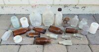 Old Medicine Liquor Cold Cream Vaseline Antique Bottle Lot Amber Milk Glass