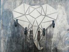 Handmade wooden wall mount coat or key rack Origami Elephant with 4 hooks