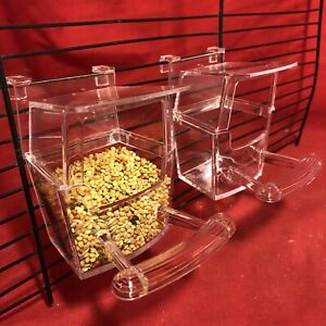 Bird Cup 2 x Cage Clip On Water Food Bowl Feeder 2 Hook Cup Budgie Canary Finch