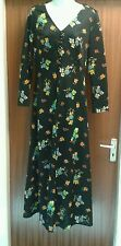 Approx Size 12 Vintage 1970's Black Flowered Patterned Handmade Maxi Dress (4)