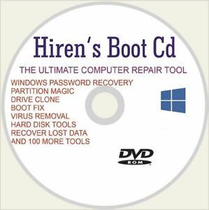 Hiren's Boot Disc For Any Computer Recover Fix & Repair Windows 7 8 &10 DVD