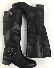 Rampage Indiana Black Knee High Boots Sz 7.5M MI1013 Zipper Strap Pull On