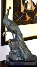 Große Bronzefigur - 11kg Bronze Pfau signiert auf Marmorsockel