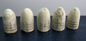 Antique Old Dug Relics Civil War Minnie Lead Bullets * Set 5 pcs