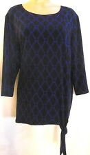 Chico's Travelers Top Knit Black and Blue 3 Equivalent 16 Front Side Tie NWOT