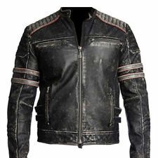Mens Biker Vintage Motorcycle Distressed Black Retro Leather Jacket (All Sizes)