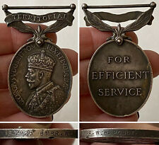 1930's KING GEORGE V Silver TERRITORIAL EFFICIENCY MEDAL BMBR.W.H.Poulter R.A.