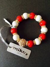 MIKEY BRACELET BEAD RHINESTONE ENCRUSTED CRYSTAL RED WHITE GOLD STRETCH