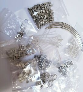 Joblot of assorted silver colour metal spacer beads, stick pins, tubes etc.