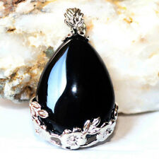 Teardrop Shaped Handmade Genuine Black Agate Gems Silver Necklace Pendants New