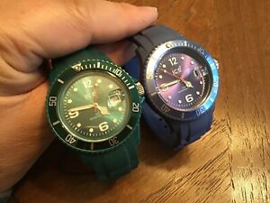 Ice Watch Lot Water Resist Women's Silicone Band Green And Blue New Batteries