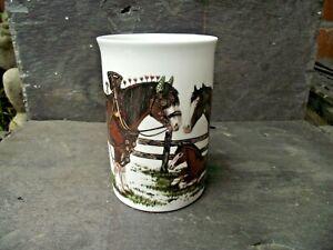 1991 Vtg Roy Kirkham Shire Horses Stallion Mare & Foal Bone China Half Pint Mug